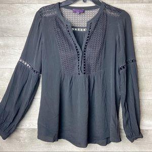 Hale bob lace black v-neck long sleeve blouse